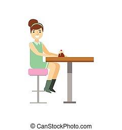femme mange, dessert, seul, jeune, illustration, petit gâteau, personne, vecteur, patisserie, doux, sourire, café, avoir
