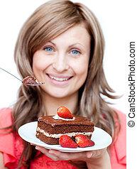femme mange, gâteau, gai