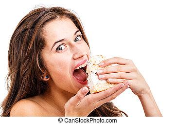 femme mange, gâteau