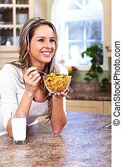 femme mange, jeune, cereals.