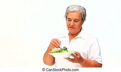 femme mange, mûrir, salade
