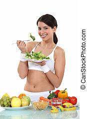 femme mange, nourriture saine