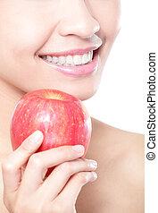 femme mange, pomme, jeune, santé, dents, rouges