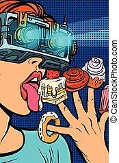 femme mange, réalité virtuelle, bonbons, lunettes