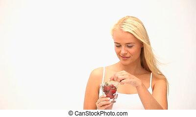 femme mange, séduisant, fruit