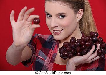 femme mange, séduisant, raisins