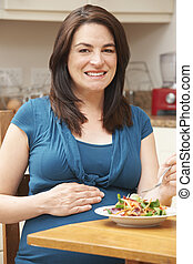 femme mange, salade, pregnant, sain, maison