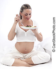 femme, manger, lit, pregnant