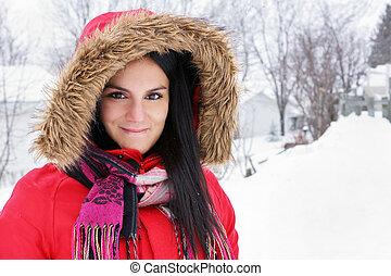 femme, manteau hiver, jeune, portrait, rouges