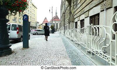 femme, manteau, prague, promenade chien, rue, noir