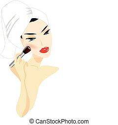 femme, maquillage demande