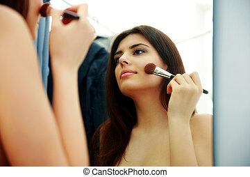 femme, maquillage, jeune, miroir, regarder, beau, quoique