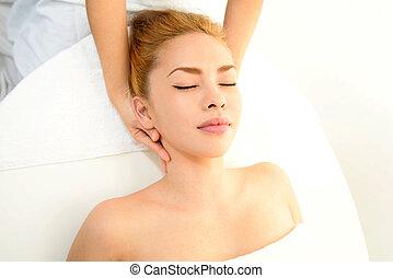 femme, masage, apprécier, spa