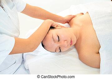 femme, masage, avoir