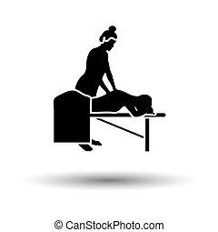 femme, masage, icône