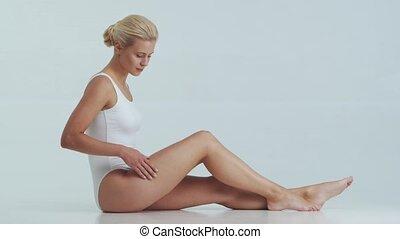femme, masage, poids, blanc, demande, naturel, skincare, ...