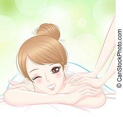 femme, masage, relâcher