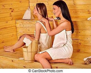 femme, masage, sauna.