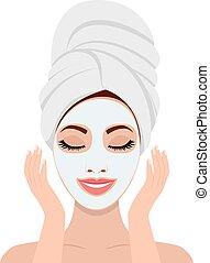 femme, mask., cosmétique, figure