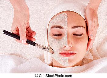 femme, masque, beauté, réception, salon, facial