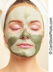 femme, masque, figure, boue, vert, argile