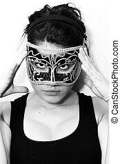 femme, masque, incognito