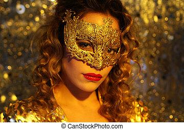 femme, masque, or, danse