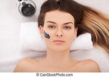 femme, masque, thérapie, facial, spa, réception