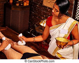 femme, massage., ayurvedic, pieds, spa, avoir