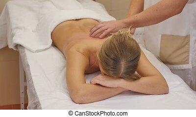 femme, masseur, dos, dénudée, spa, réception, masage