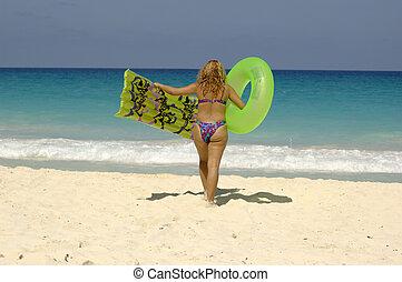 femme, mer
