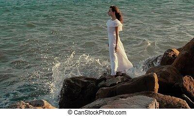 femme, mer, regarde