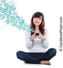 femme, messagerie, texte