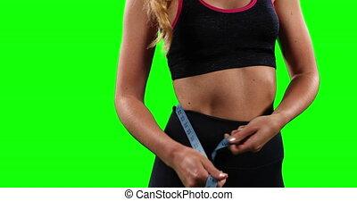 femme, mesurer, mi, hanches, caucasien, section, elle, actif