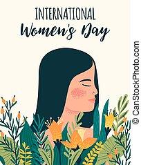 femme, metis, day., s, vecteur, gabarit, international, fleurs, femmes