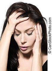 femme, migraine, gueule bois, triste, chagrin, portrait, dépression