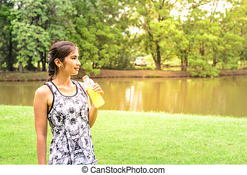 femme, minéral, coureur, après, eau, stand, tenue, running.