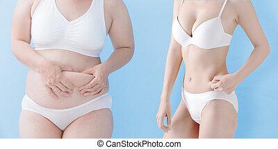 femme, mince, graisse