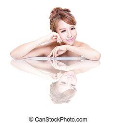 femme, miroir, reflet, beauté, figure
