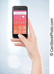 femme, mobile, app, screen., main, annuaire, noir, tenue, santé, intelligent