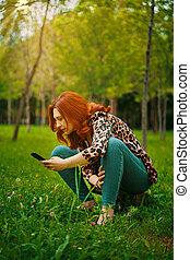 femme, mobile, photographie