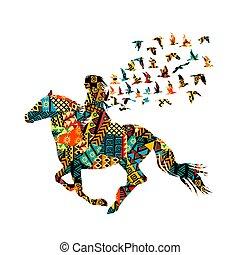 femme, modèle, coloré, équitation, motifs, ethnique, oiseaux