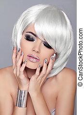 femme, mode, beauté, hair., sexy, woman., isolé, enjoyment., portrait, gris, court, arrière-plan., blanc