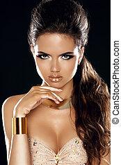 femme, mode, beauté, portrait., girl., coupe, makeup., faire, vogue, style., élégant, hairstyle., magnifique, lady., charme, haut.