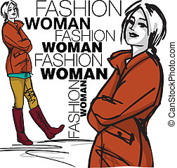 femme, mode, illustration