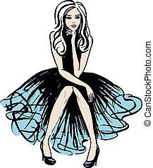 femme, mode, illustration, séance