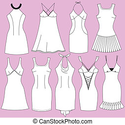 femme, mode, robes