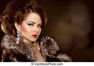 femme, mode, soir, beauty., portrait., make-up., bijouterie, beau