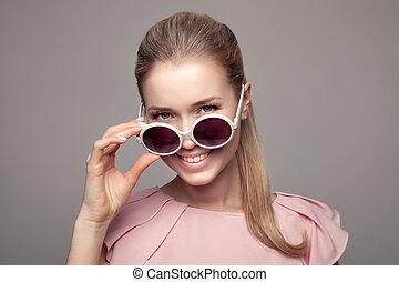 femme, mode, sunglasses.