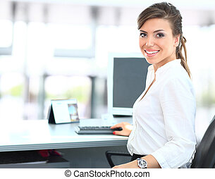 femme, moderne, bureau, business